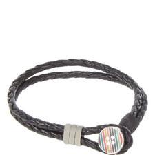 Striped Button Wrap Bracelet