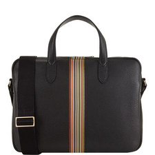Leather Multi-Stripe Briefcase