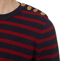 Striped Buttoned Neck Sweater, ${color}