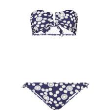 Daisy Print Aria Bandeau Bikini Top