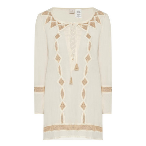 Embroidered Lace Up Tunic, ${color}