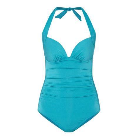 Jet Set 50s Halter-Neck Swimsuit, ${color}