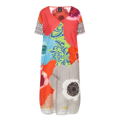 Floral Print Silk Tunic, ${color}