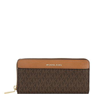 Logo Print Zip-Around Continental Wallet