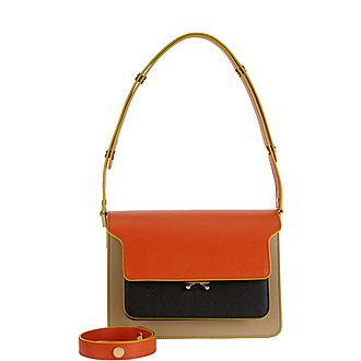 Trunk Colour Blocked Shoulder Bag