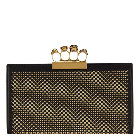 Four Ring Leather Clutch, ${color}
