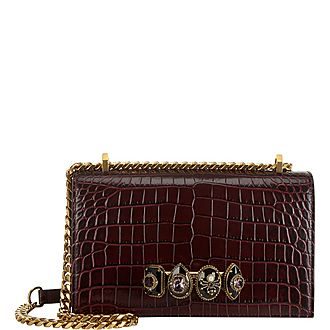 Jewelled Croc-Embossed Large Satchel