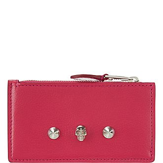 Skull Stud Top Zip Wallet