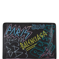 Graffiti Print Zip-Around Pouch