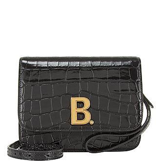 B Croc Effect Small Shoulder Bag