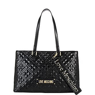 Cross-Quilted Shopper Tote