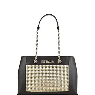 Quilted Stud Shoulder Bag