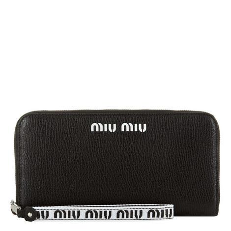 Madras Leather Logo Zip-Around Wallet, ${color}