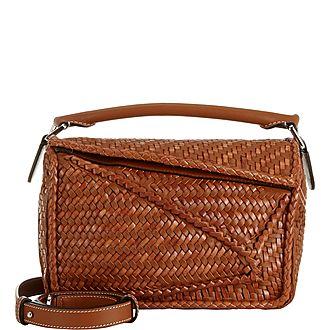 Woven Puzzle Shoulder Bag