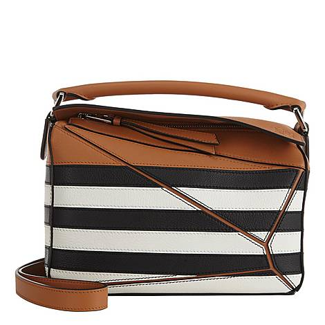 Puzzle Striped Small Tote, ${color}