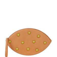 Floral Embellished Oval Clutch Bag