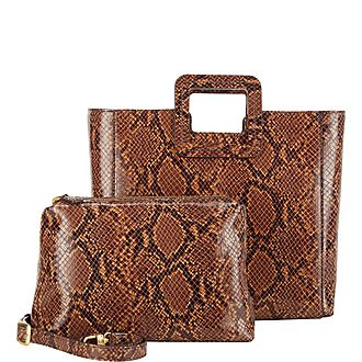 Shirley Snake-Embossed Tote Bag