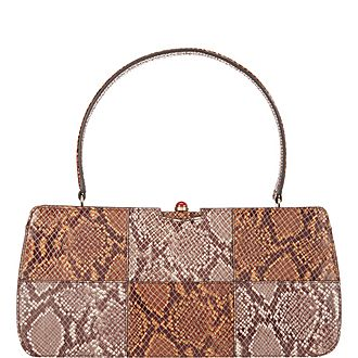 Whitney Snake Embossed Shoulder Bag