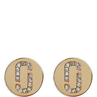 Double J Pave Stud Earrings