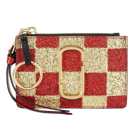 Snapshot Checkered Top Zip Wallet, ${color}