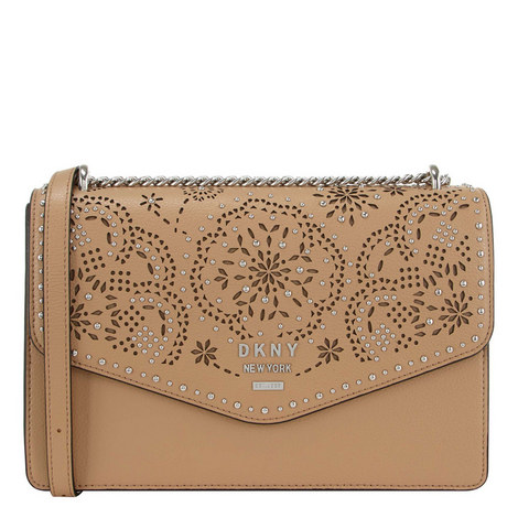 Whitney Perforated Floral Shoulder Bag, ${color}