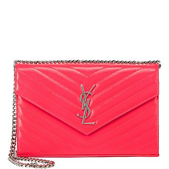 Patent Leather Monogram Chain Wallet