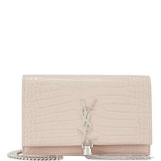 Kate Croc-Embossed Wallet Crossbody Bag