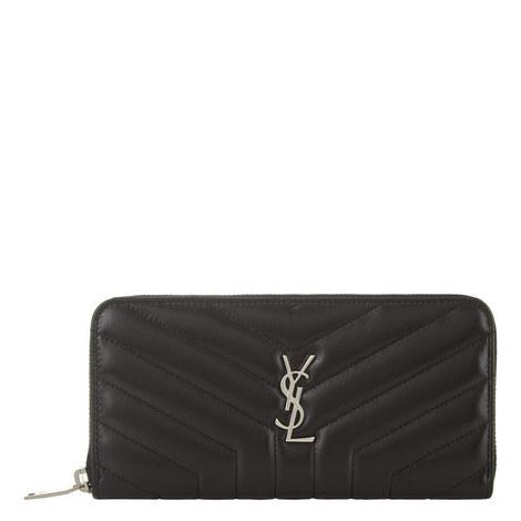 Monogram Quilted Zip-Around Wallet, ${color}