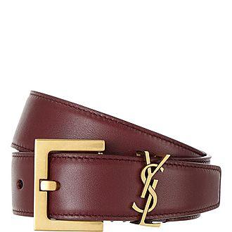 Leather Monogram Belt
