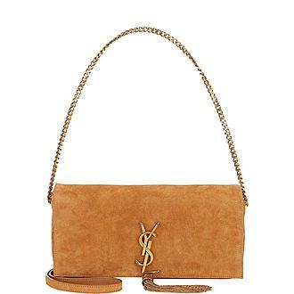 Kate Suede Tassel Clutch Bag