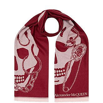 Chain Skull Jacquard Scarf
