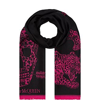 Skull And Leopard Scarf