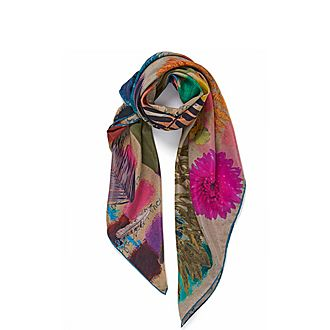 Feather Sketch Square Silk Scarf