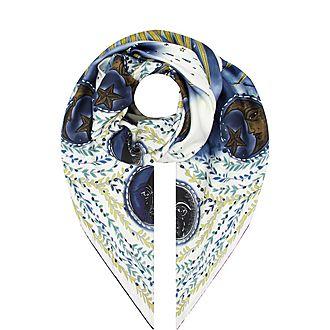 Moon Print Silk Scarf