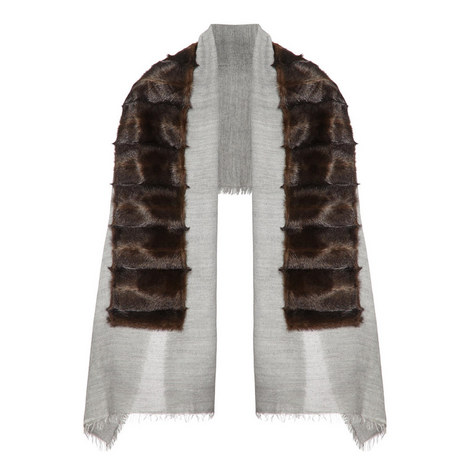 Textured Faux Fur Scarf, ${color}