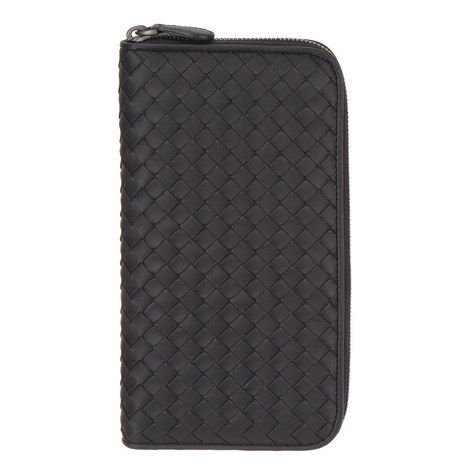 Intrecciato Zip-Around Leather Wallet, ${color}