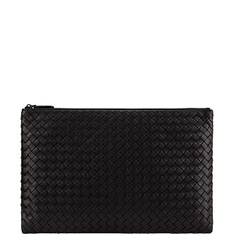 Intrecciato Top Zip Medium Pouch