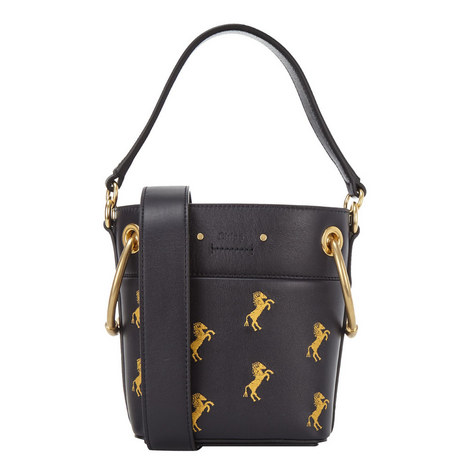 Roy Embroidered Horse Bucket Bag, ${color}
