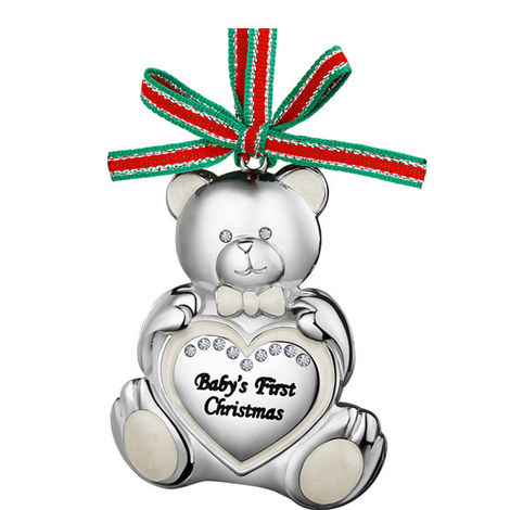 Teddy Bear Baby's First Christmas Hanging Decoration, ${color}