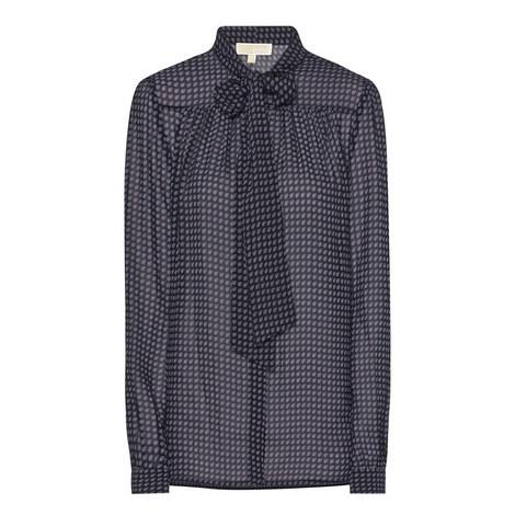 Paisley Print Tie Neck Blouse, ${color}