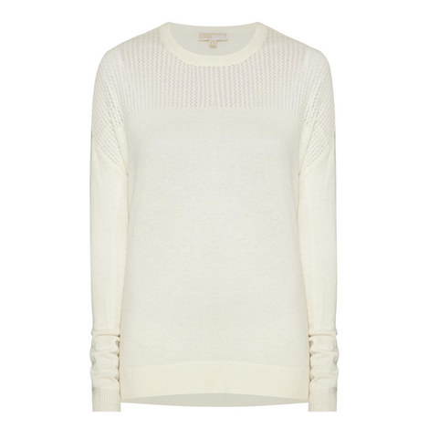 Mesh Panel Knitted Sweater, ${color}