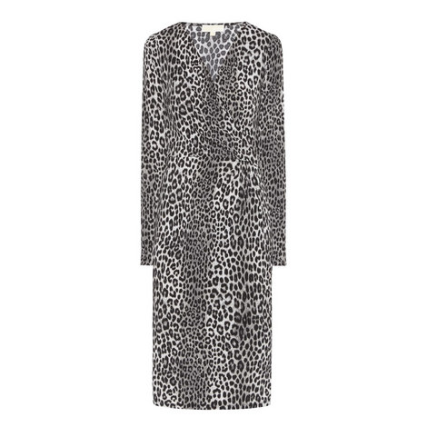 Wrap Front Animal Print Dress, ${color}