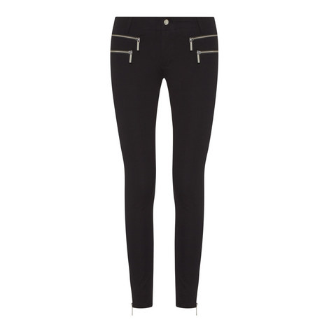 Zip Detail Skinny Jeans, ${color}