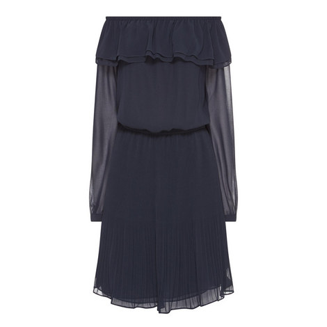Ruffle Trim Off-Shoulder Dress, ${color}
