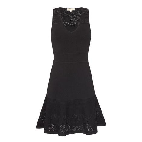 V-Neck Lace Panel Dress, ${color}