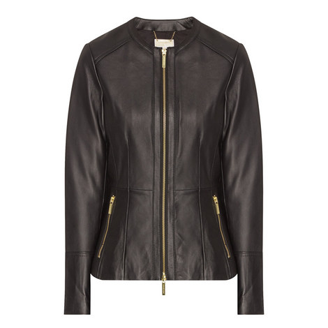 Peplum Leather Jacket, ${color}