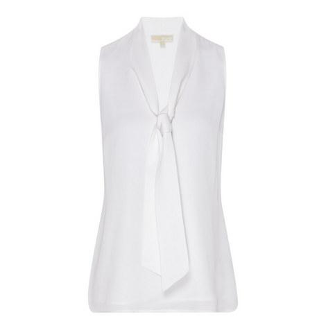 Tie-Neck Silk Sleeveless Top, ${color}