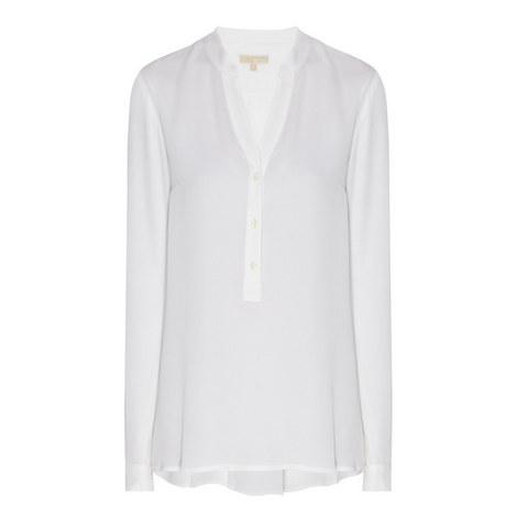 Pleated Back Silk Shirt, ${color}