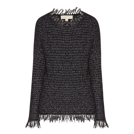 Fringe Trim Knitted Sweater, ${color}