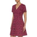 Short Sleeve Print Jacquard Dress, ${color}